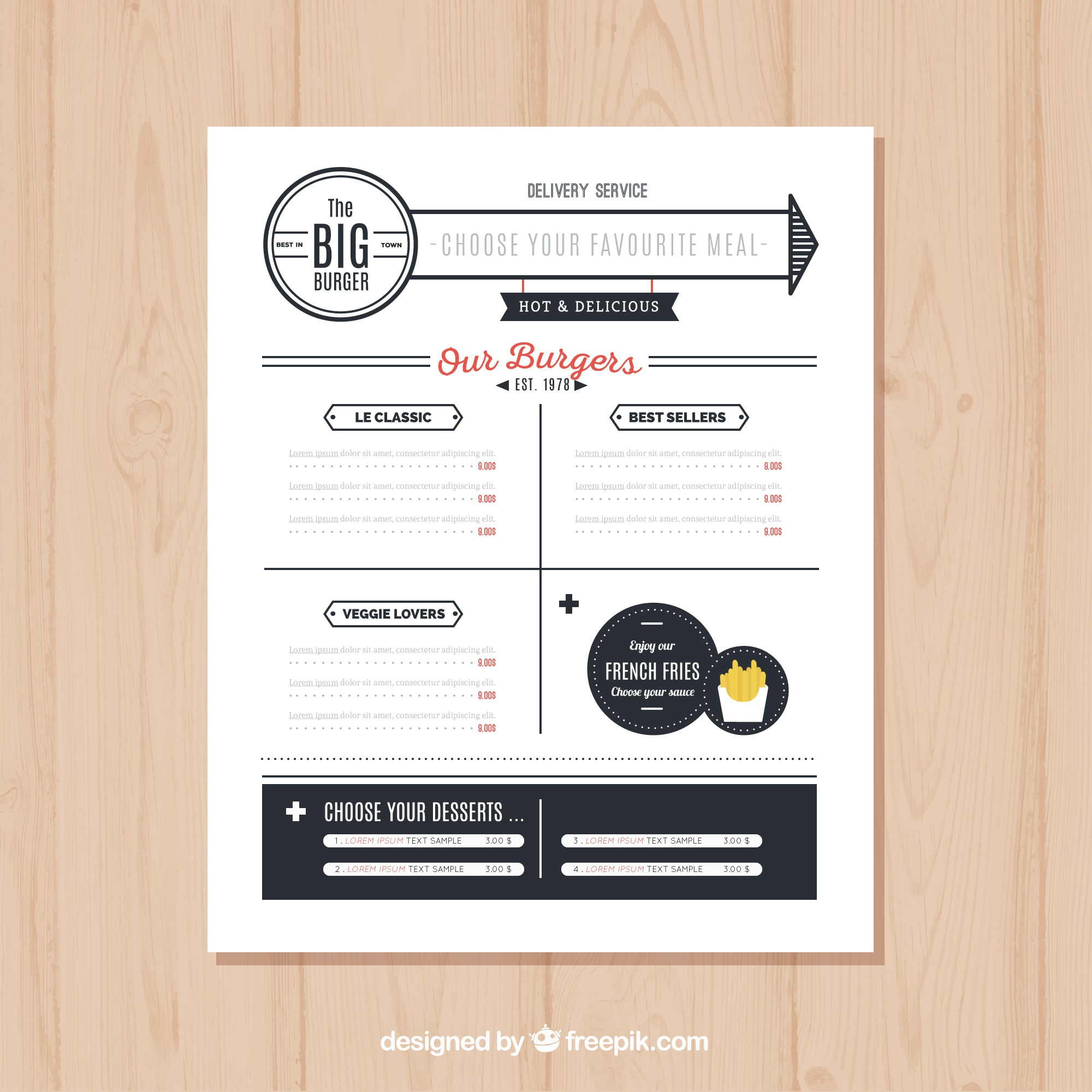 Burger menu template in minimalist style