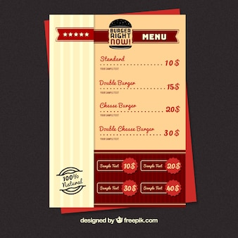 Burger menu template with red elements