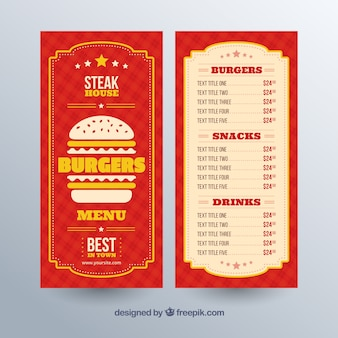Burger menu template with yellow details