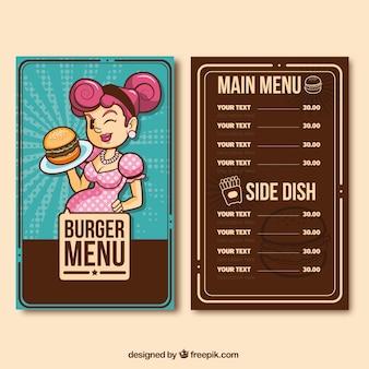 Burger menu with smiling waitress