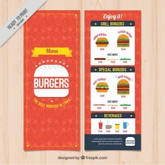Burguer bar menu template