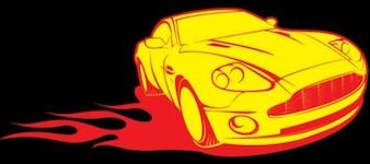 Burning aston martin car black background set