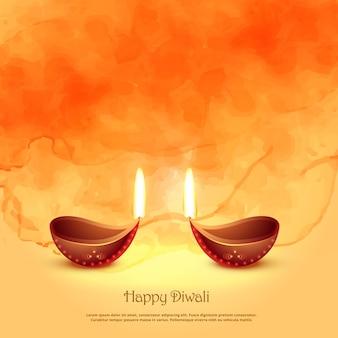 Burning diya lamps for diwali festival greeting background