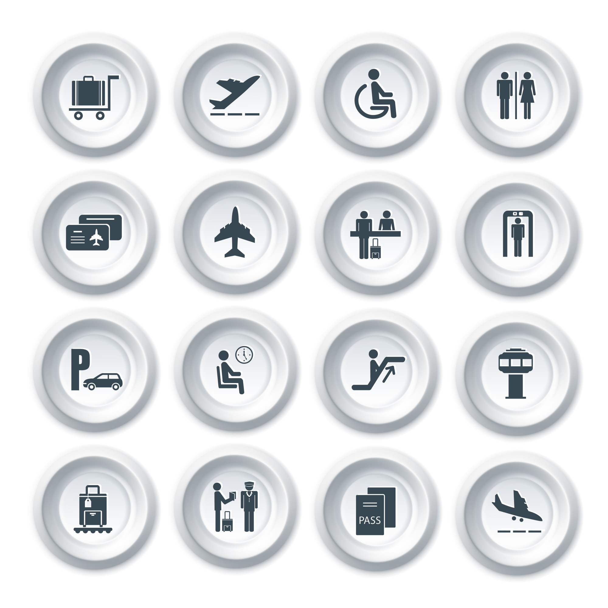 Business airport travel button icons set with plane security check baggage control isolated vector illustration