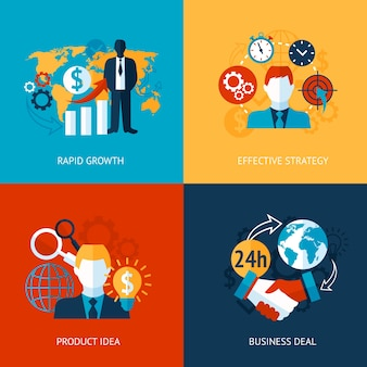 Business and managements rapid growth effective strategy product idea deal set isolated vector illustration