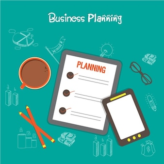 Business background with clipboard and mobile phone