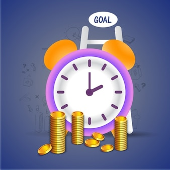 Business background with coins and clock