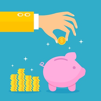 Business background with coins and piggybank