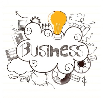 Business background with colored light bulb