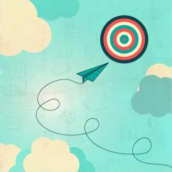 Business background with dartboard and clouds