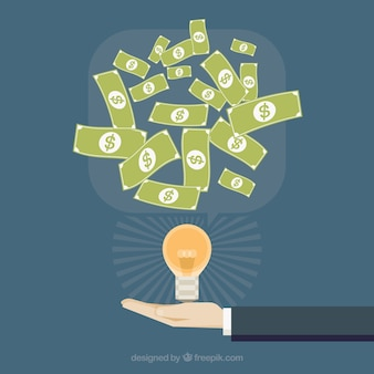 Business background with light bulb and bills