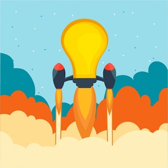 Business background with light bulb rocket-shaped
