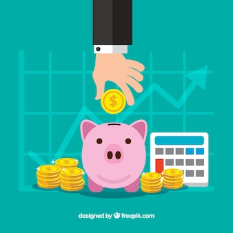 Business background with statistics and piggy bank
