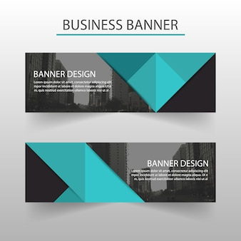 Business banner with blue polygonal shapes