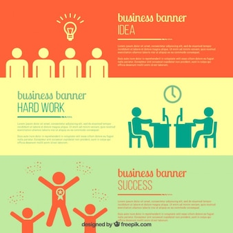 Business banners with pictograms