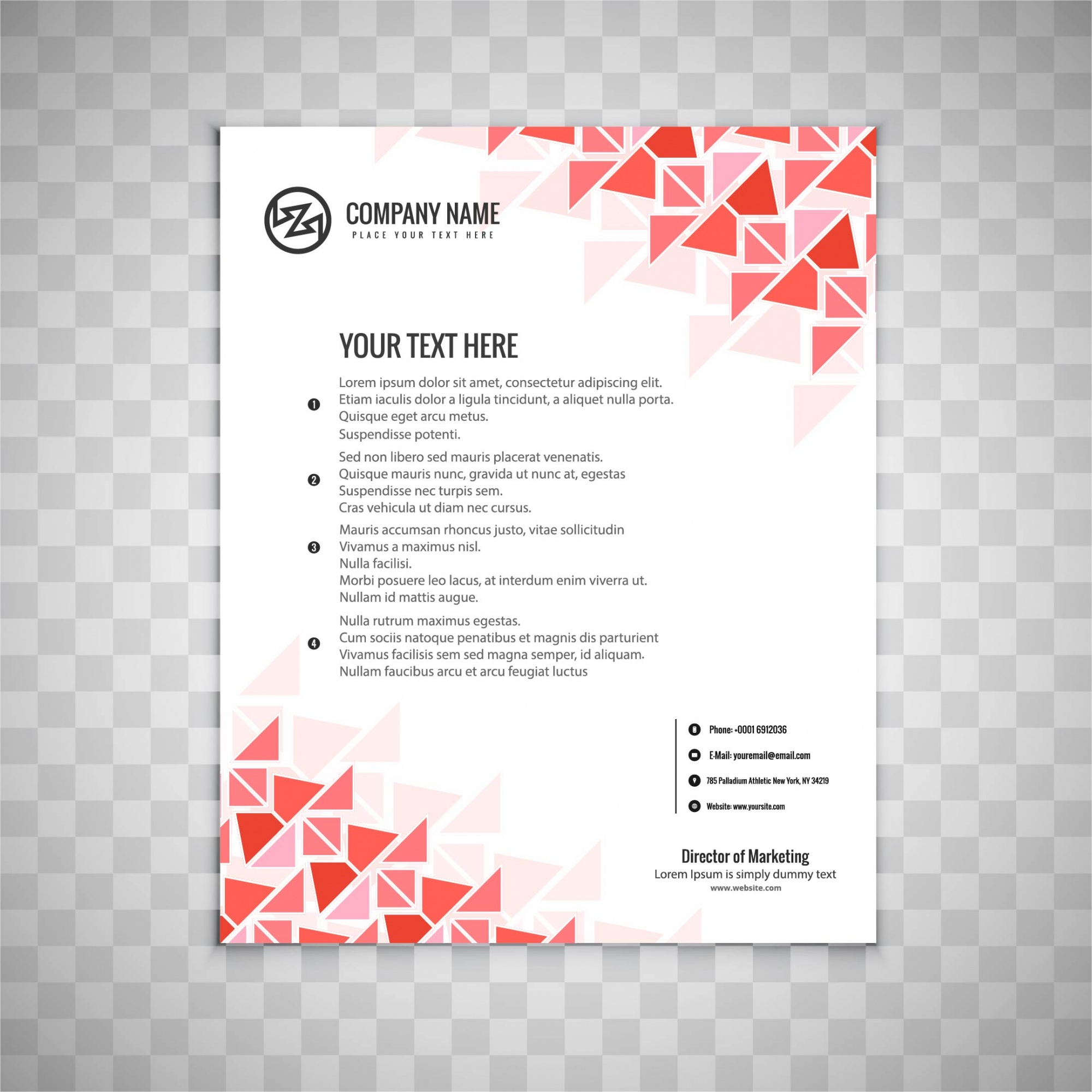 Business brochure design with red triangular shapes
