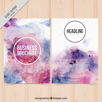 Business brochure painted with watercolor
