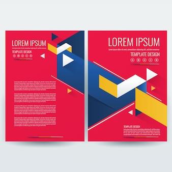 ビジネスパンフレットテンプレート、チラシデザインテンプレート、会社概要、雑誌、ポスター、年次報告書、ブック&小冊子、サイズa4の赤と青の幾何学模様。
