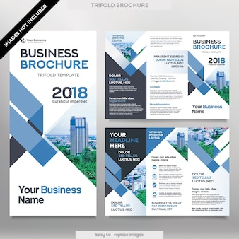 トライフォールドレイアウトのビジネスパンフレットテンプレート。置き換え可能なイメージを備えたコーポレートデザインのリーフレット。