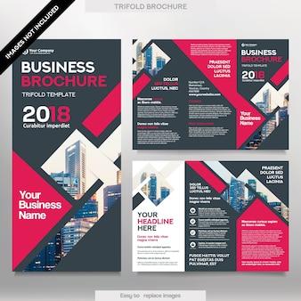 Шаблон бизнес-брошюры в формате Tri Fold. Корпоративный дизайн Листовка с заменяемым изображением.
