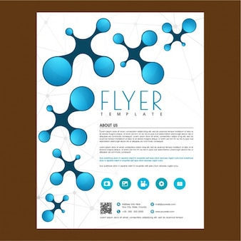 Business brochure template with abstract shapes in blue tones