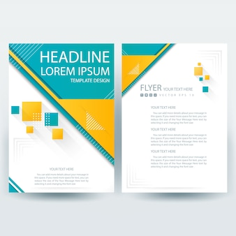 Business brochure template with blue and yellow geometric