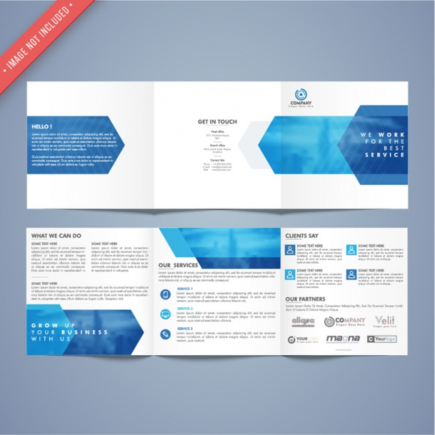 Business brochure template with blue elements