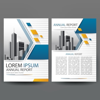 Business brochure template with blue geometric