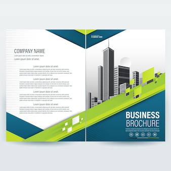 Business brochure template with Blue Green  Geometric shapes