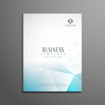 Business brochure template with blue polygonal shapes