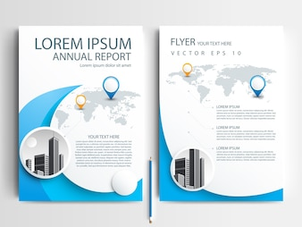 Business brochure template with Blue Round shapes