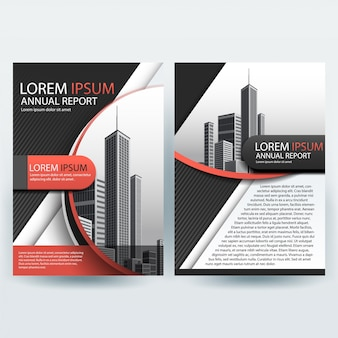 Business brochure template with city photo in background