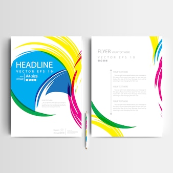 Business brochure template with colorful brush