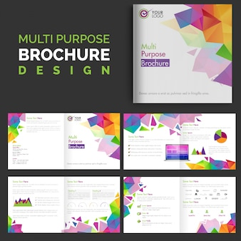 Business brochure template with colorful geometric shapes