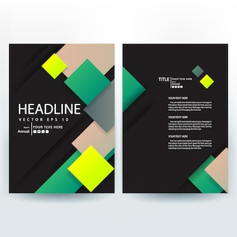 Business brochure template with green square shapes