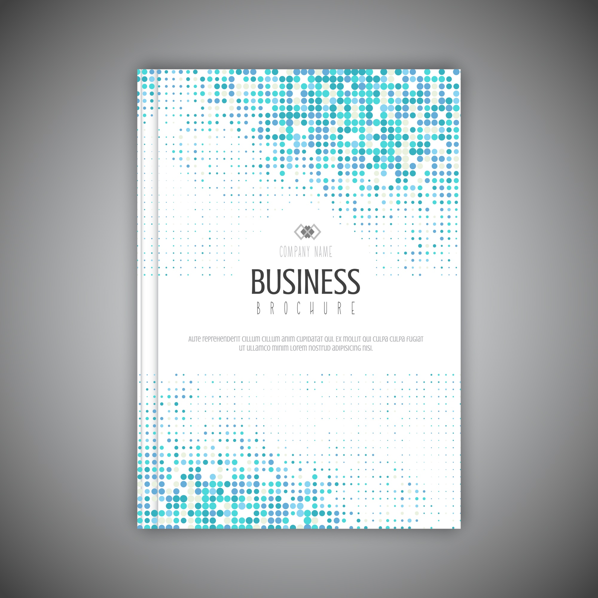 Business brochure template with halftone dots design