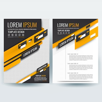 Business brochure template with Orange and Black Geometric Shapes