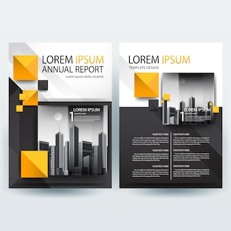 Business brochure template with Orange and Black Geometric