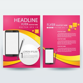 Business brochure template with pink and smartphone