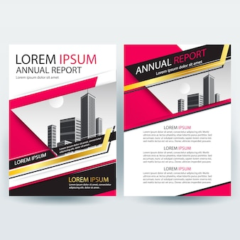 Business brochure template with Pink Geometric shapes
