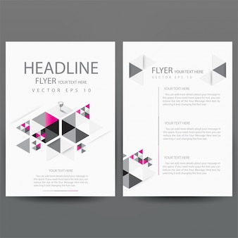 Business brochure template with pink triangle