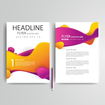 Business brochure template with purple and orange wavy