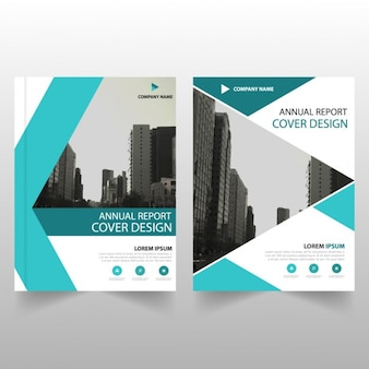 Business brochure template with turquoise geometric shapes