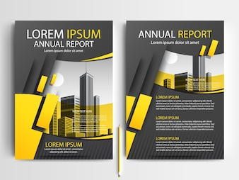 Business brochure template with Yellow and Gray Geometric shapes