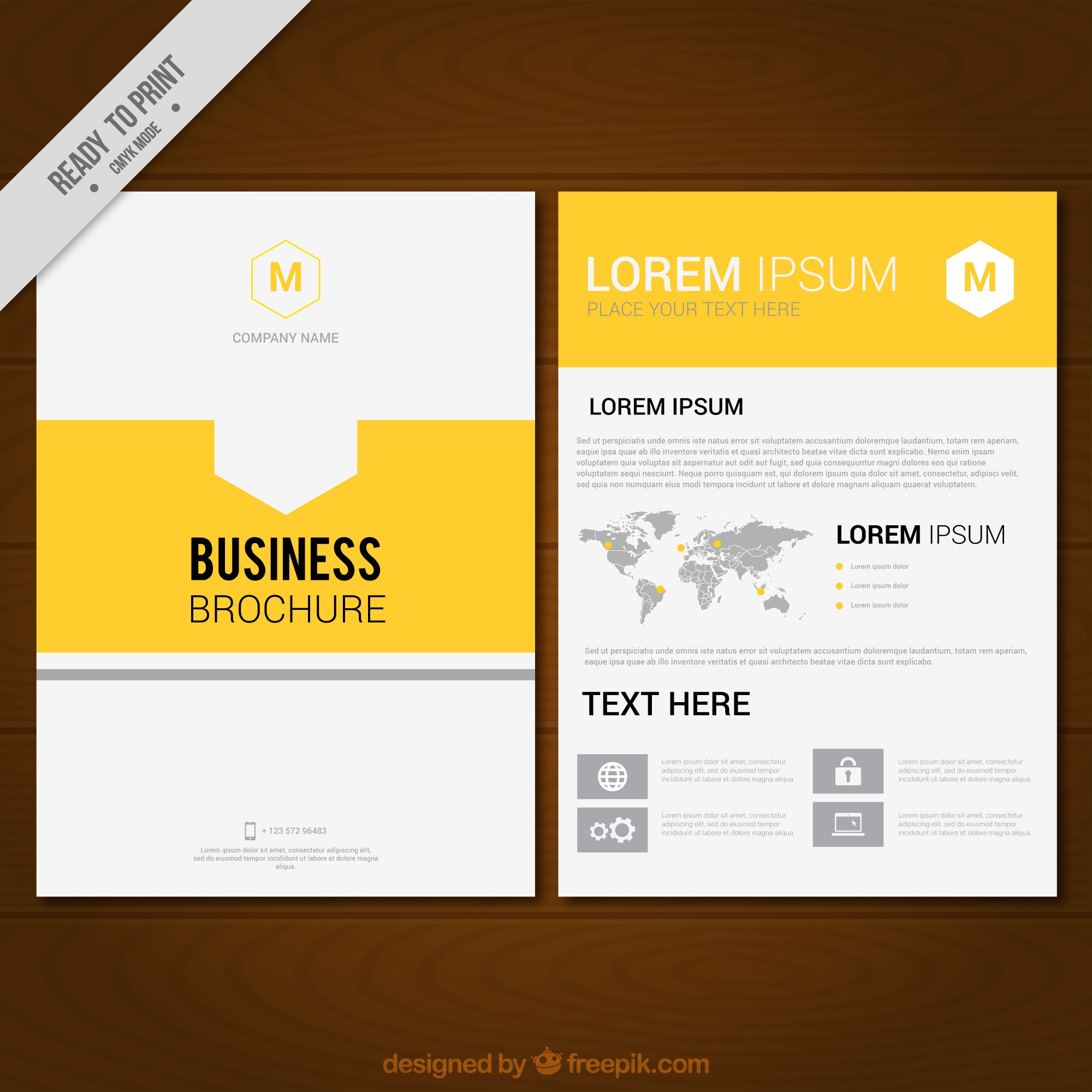 Business brochure template with yellow details