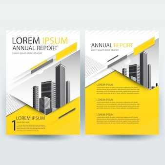 黄色の幾何学的形状のビジネスパンフレットテンプレート
