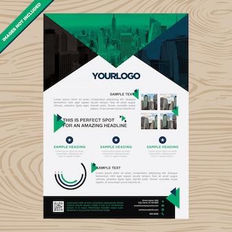 Business brochure with aquamarine triangle