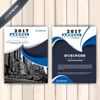 Business brochure with blue abstract shapes