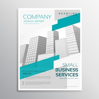 Business brochure with blue and gray shapes