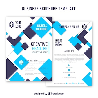 Business brochure with blue squares